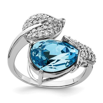 Sterling Silver RH-plated Clear/Blue Crystal Flower Adjustable Ring