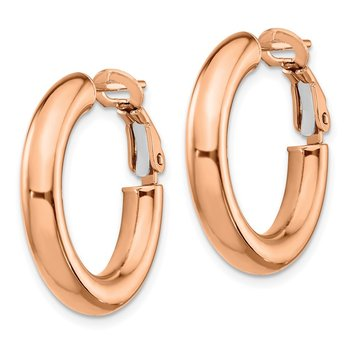 14k Rose Gold 4x15mm Polished Round Omega Back Hoop Earrings