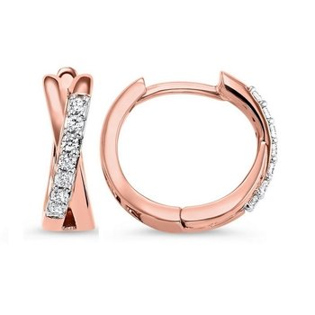 Diamond Criss-Cross XO Hoop Earrings in 14k Rose Gold (1/6ctw)