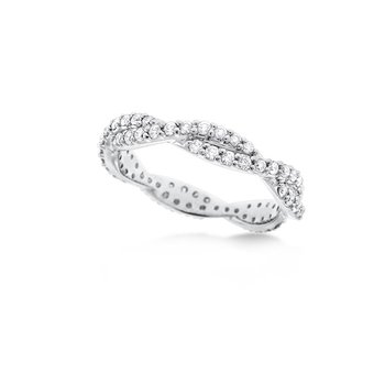 Diamond Twisted Stackable Ring in 14K White Gold with 66 Diamonds Weighing .66ct tw.