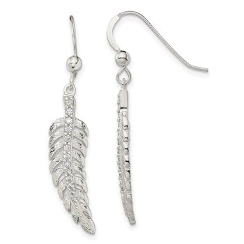 Sterling Silver Textured CZ Feather Shepherd Hook Earrings
