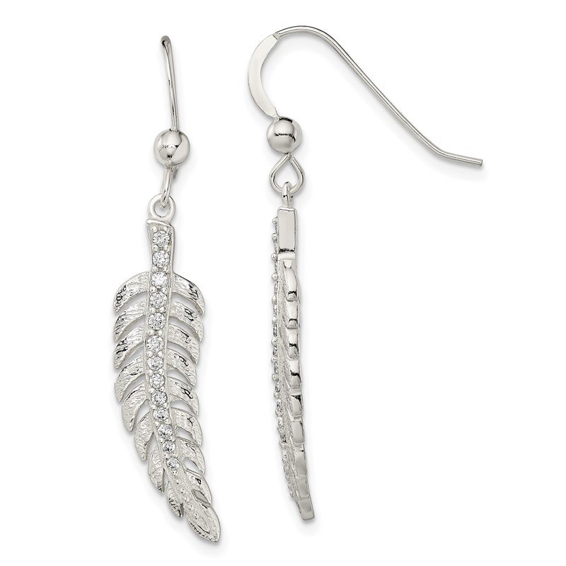 Quality Gold Sterling Silver Textured CZ Feather Shepherd Hook Earrings