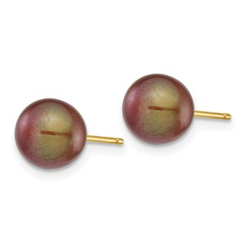 14k 7-8mm Coffee Round Freshwater Cultured Pearl Stud Post Earrings