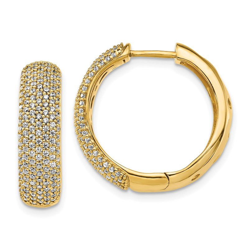 Quality Gold 14k Diamond Hinged Hoop Earrings