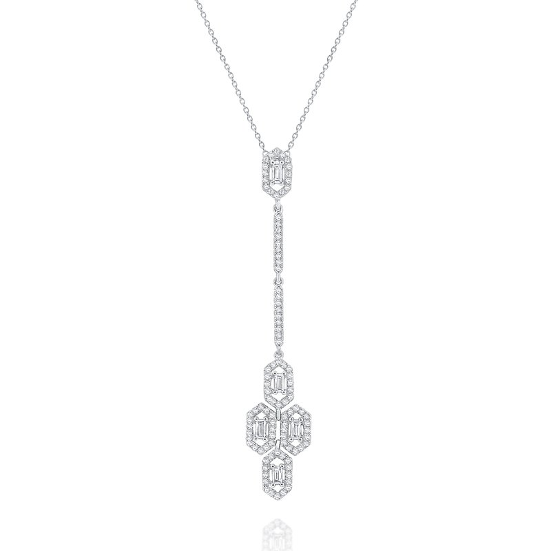 MAZZARESE Fashion Diamond Hexagonal Drop Mosaic Necklace Set in 14 Kt. Gold