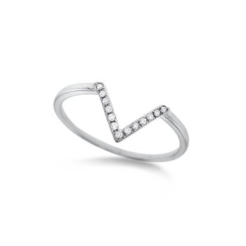 "Diamond Mini ""V"" Ring in 14K White Gold with 13 Diamonds Weighing .06 ct tw"