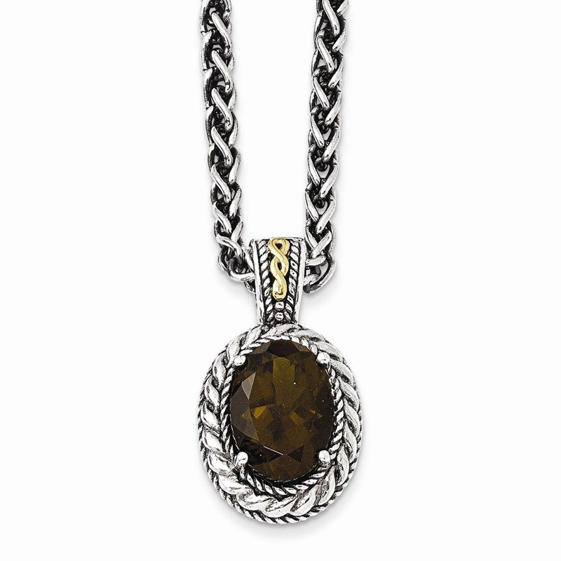 Shey Couture Sterling Silver w/14k Antiqued Smoky Quartz Necklace