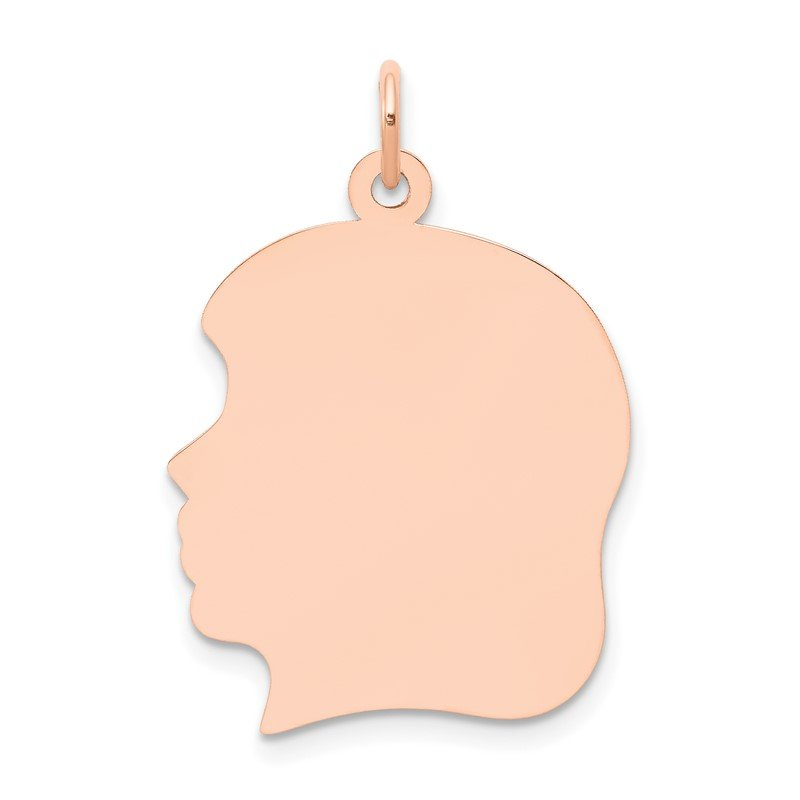 Quality Gold 14k Rose Plain Large.011 Gauge Facing Left Engraveable Girl Head Charm