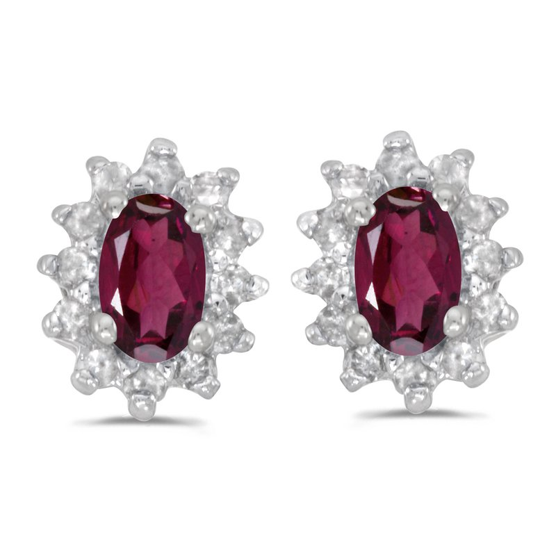 Color Merchants 10k White Gold Oval Rhodolite Garnet And Diamond Earrings