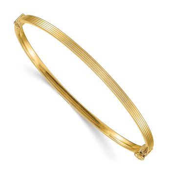 14k Polished Textured Hinged Bangle Bracelet