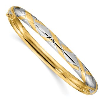 14k 4/16 w/White Rhodium Textured Criss-Cross Hinged Bangle
