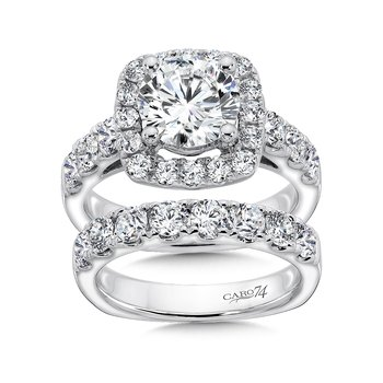 Prong Set Round Diamond Criss Cross Wedding Band in 14K White Gold