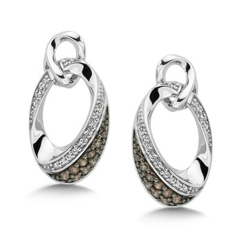 Pave set Slim Diamond Oval Hoops in 14k White Gold (1/2 ct. tw.) GH/SI1-SI2