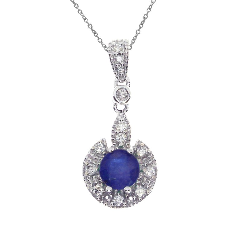 Color Merchants 14k White Gold Sapphire Round Pendant