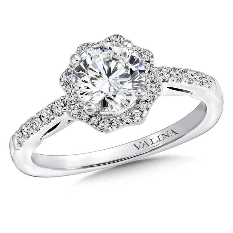 Valina Floral shape halo .20 ct. tw., 1 ct. round center