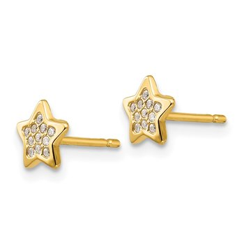 14k Polished CZ Star Post Earrings