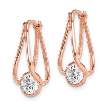 10K Rose Gold Polished CZ Hoop Earrings