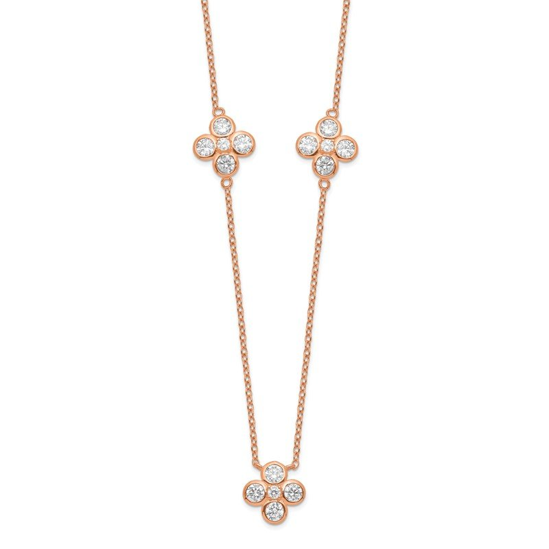 Quality Gold Sterling Silver Rose Gold-plated Polished CZ Necklace