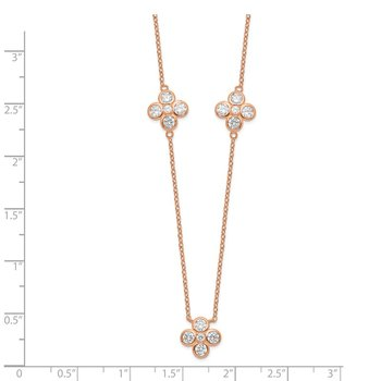 Sterling Silver Rose Gold-plated Polished CZ Necklace