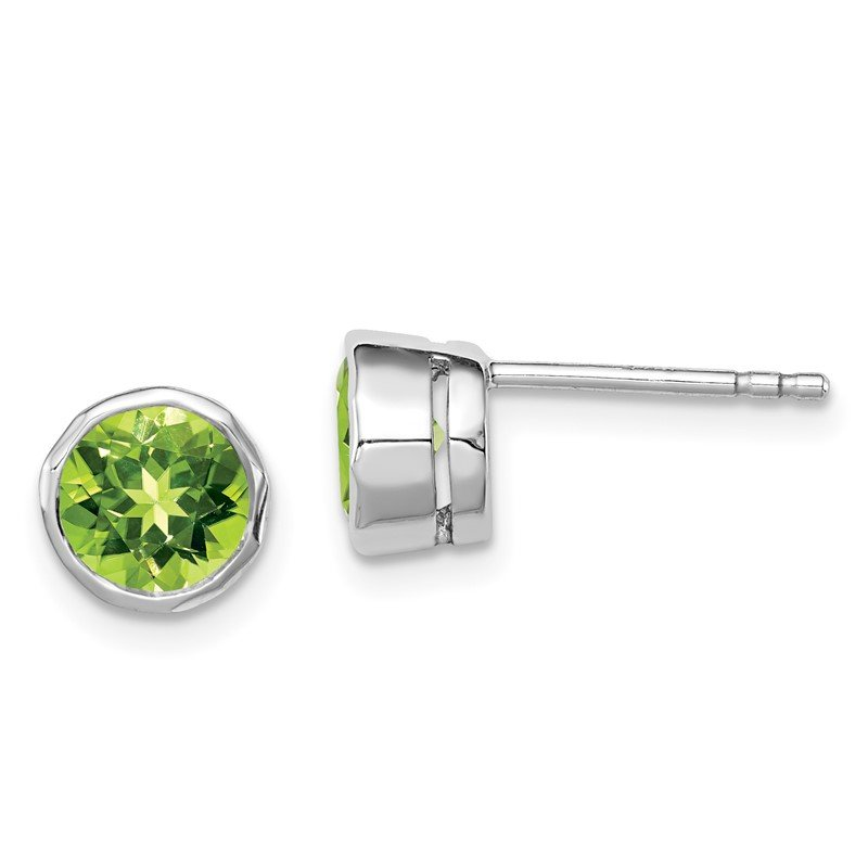 Quality Gold Sterling Silver Rhodium-plated Peridot Circle Stud Earrings