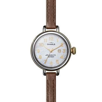 The Birdy 34mm Mother of Pearl Double Wrap Leather Strap Watch