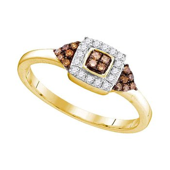 10kt Yellow Gold Womens Round Brown Color Enhanced Diamond Square Cluster Ring 1/5 Cttw