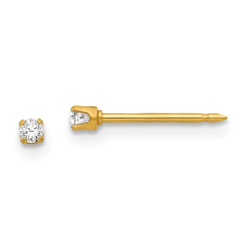 Quality Gold Inverness 24k Plated 2mm CZ Post Earrings