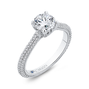 18K White Gold Round Cut Diamond Classic Engagement Ring (Semi-Mount)