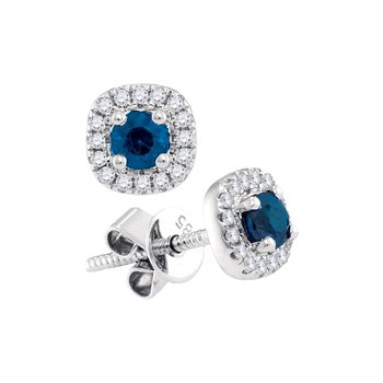 14kt White Gold Womens Round Blue Sapphire Solitaire Diamond Frame Screwback Earrings 1/2 Cttw