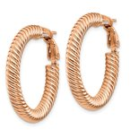 Quality Gold 10k 4x20 Rose Gold Twisted Round Omega Back Hoop Earrings