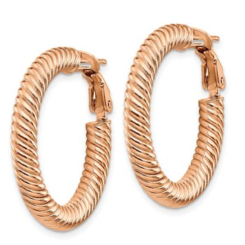 10k 4x20 Rose Gold Twisted Round Omega Back Hoop Earrings