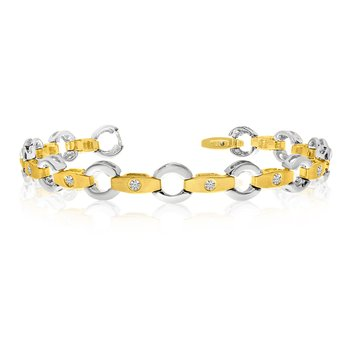 14k Yellow Gold Link and Bar Diamond Bracelet
