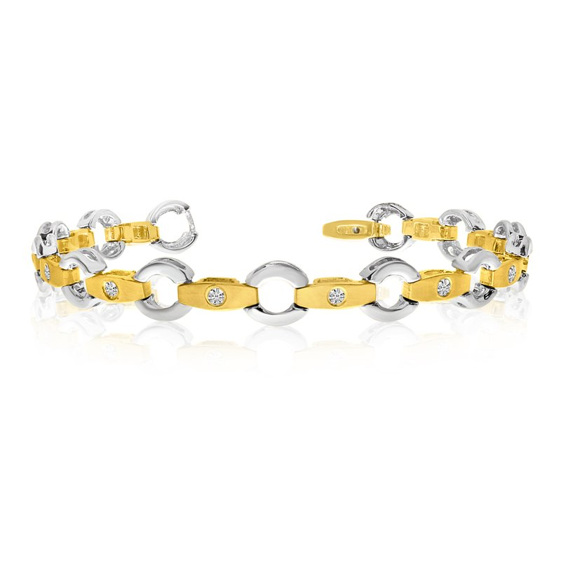Color Merchants 14k Yellow Gold Link and Bar Diamond Bracelet