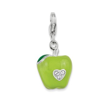 Sterling Silver Amore La Vita Rhodium-pl 3-D Enameled Green Apple Charm