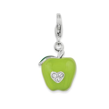 Sterling Silver Rhodium 3-D Enameled Apple w/Lobster Clasp Charm