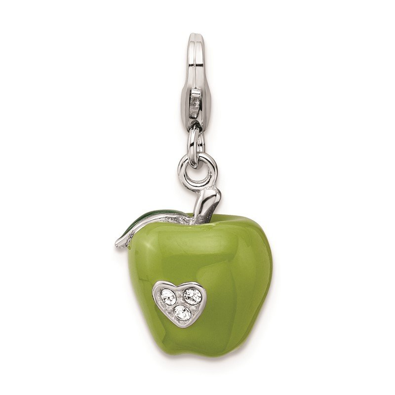 Quality Gold Sterling Silver Rhodium-plated w/Lobster Clasp 3-D Enameled Apple Charm