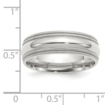 SS 7mm Comfort Fit Double Milgrain Size 10 Band