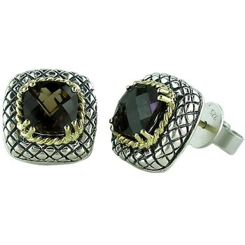 18kt and Sterling Silver Cushion Smokey Quartz Button Earrings