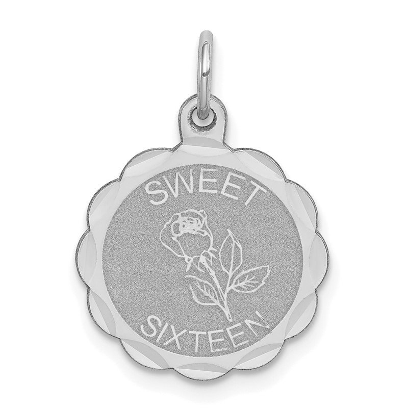 Quality Gold Sterling Silver Rhodium-plated Sweet Sixteen Disc Charm