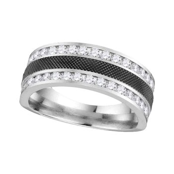14kt White Gold Mens Round Diamond Double Row Wedding Band 1.00 Cttw