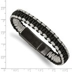 Chisel Stainless Steel Brushed Black IP Black/Grey Nylon 8.25in Bracelet