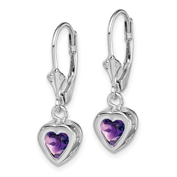 Sterling Silver Rhodium 6mm Heart Amethyst Leverback Earrings