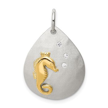 Sterling Silver Gold-Tone CZ Seahorse Brushed Pendant