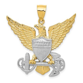 14K Two-tone US Navy Eagle Pendant