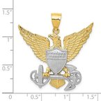 Quality Gold 14K Two-tone US Navy Eagle Pendant