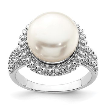 Sterling Silver Rhod-plat 11-12mm White FWC Pearl Ring