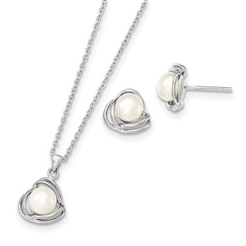Sterling Silver Rhod 6-7mm White FWC Pearl Necklace/Earring Set