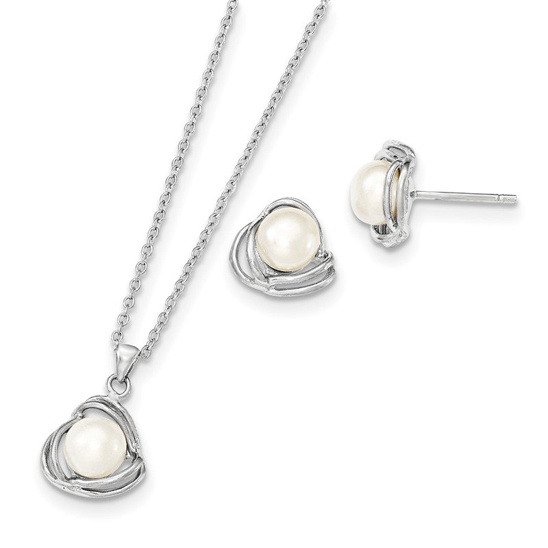 Quality Gold Sterling Silver Rhod 6-7mm White FWC Pearl Necklace/Earring Set