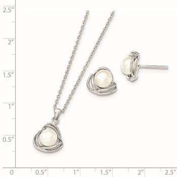 Sterling Silver Rhodium-plated 6-7mm White FWC Pearl Necklace/Earring Set