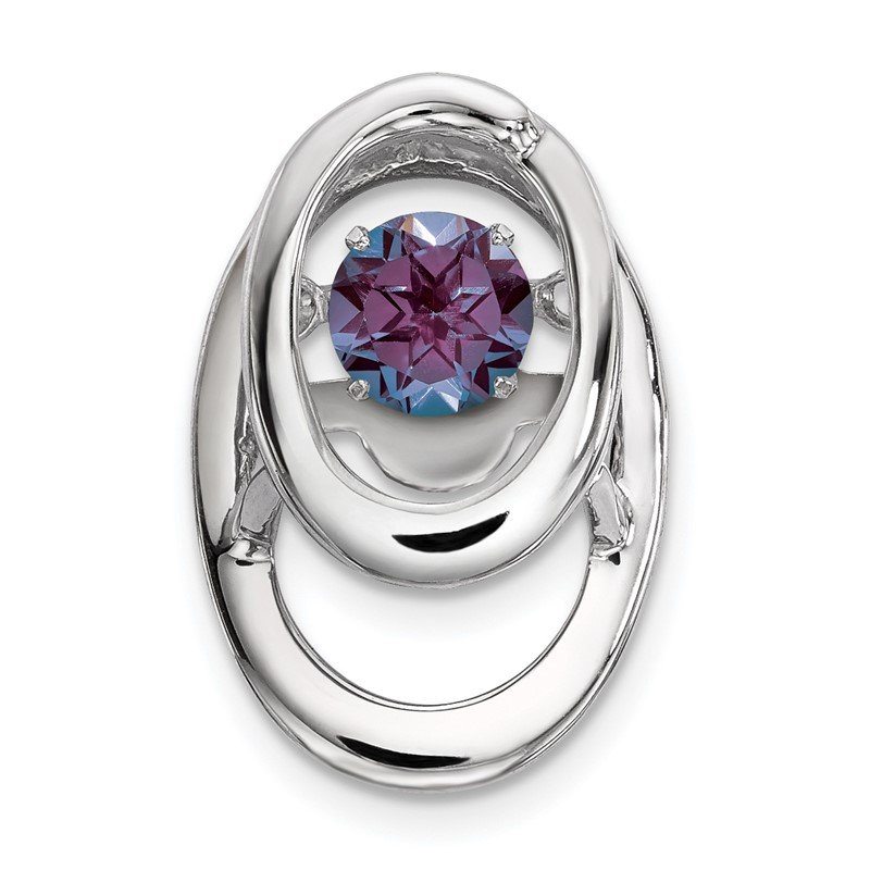 Sterling Silver Rhodium Created Alexandrite Birthstone Vibrant Chain Slide